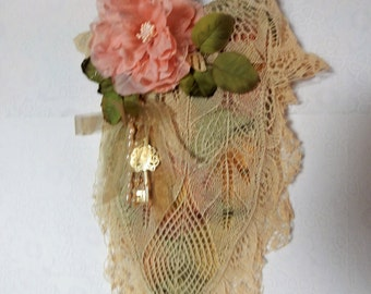 Victorian Shabby Purse or Wall Hanging