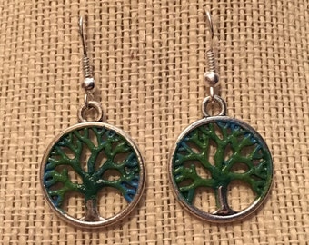 Green Tree of Life Earrings