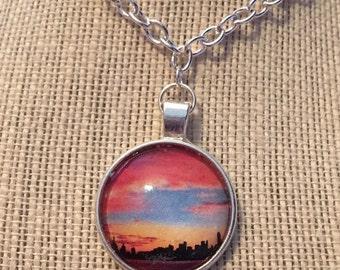 """16"""" Beautiful Sunset Glass Pendant Necklace"""