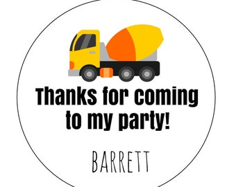 12 Construction Truck Stickers, Mixer Truck, Thank You Labels, First Birthday, Construction Theme, Construction Birthday, Cement Mixer