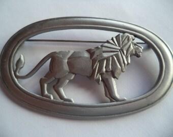 Vintage Signed JJ Silver pewter Art Deco Lion Brooch/Pin