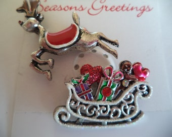 Fabulous Unsigned Vintage Silvertone  Reindeer and Sleigh Brooch/Pin    Set of 2 Brooches/Pins