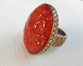 Red Agate Jade Hand Carved Ring Chinese Sterling Silver
