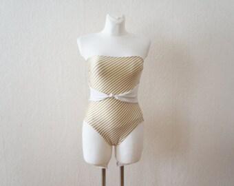 1980s Bathing Suit / Striped Bathing Suit