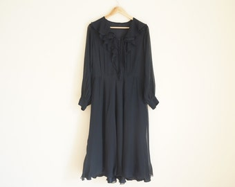 Vintage Black Dress / Vintage Ruffle Dress