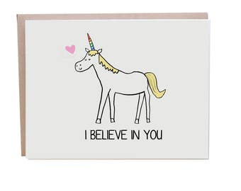 Unicorn Card, Encouragement, Good Luck Card, Unicorn, I Believe in You, Congratulations