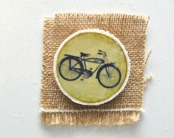 Wooden brooch - Wooden Pin - Vintage brooch - Bicycle brooch