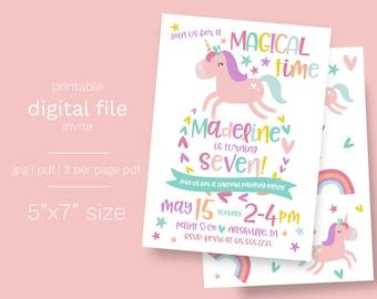 Unicorn Birthday Party Invitation DIGITAL pdf or jpg Printable File Print your own Unicorn Rainbow Magical Birthday Invite