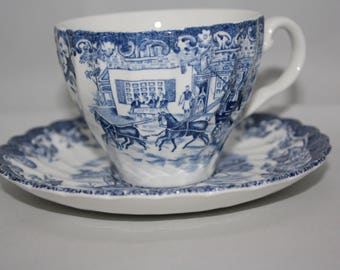 """Johnson Brothers Teacup & Saucer-- """"Coaching Scenes"""" Made in England"""