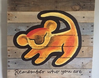 Simba ,21x21 inches ,remember who you are, pallet art,rustic wall art,nursery wall decor,