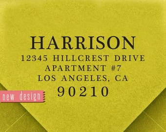 CUSTOM ADDRESS STAMP, personalized pre inked address stamp, pre inked custom address stamp, address stamp with proof - calligraphy d5-27