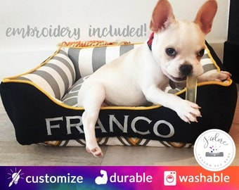 Small Dog Bed - Gray White Stripe, Black, Yellow - Fun, Classy Designer Dog Bed | Design Your Own!
