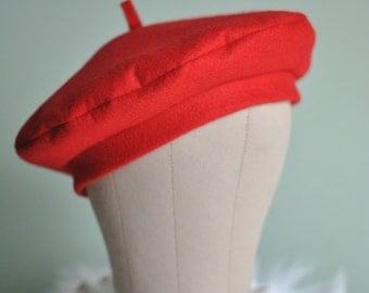 Red Wool Felt French Beret