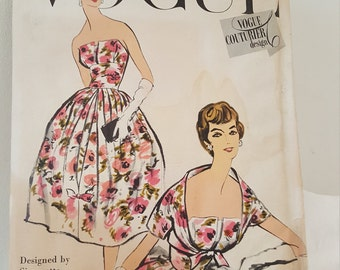 1950's Vintage Vogue Couturier Design Vogue 101 Sewing Pattern UNCUT /Complete w/ sew in label Designed by Simonetta of Italy Dress & Bolero