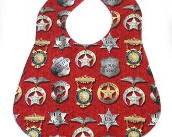 Baby Bib | Baby Boy Bib | Sheriff Bib | Western Bib | Old Badges Bib | Cowboy Bib | Law Enforcement Bib | Handmade Reversible Bib