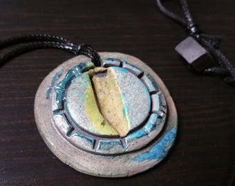 Yellow Blue 1.75 inch diameter Ceramic Raku Circle Sun Pattern Pendant Necklace on 1.5mm Waxed Cord  19.5 inches with Raku Bead Loop Clasp
