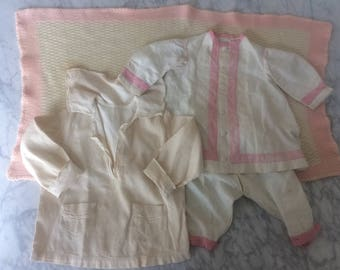 Lot of 2 Baby Outfits & Blanket