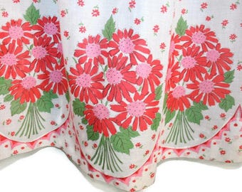 Vintage White Half Apron printed with Pink and Red Daisies glamping