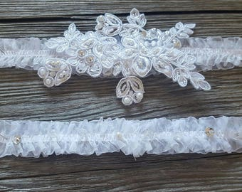 Garter Set White Romantic Lace