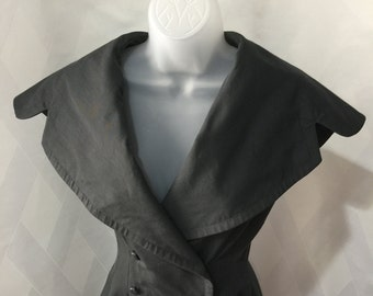 Vintage 1950s Charcoal Gray New Look Double Breasted Dress with Oversized Collar