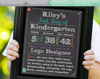 CLASSIC Editable First Day of School Chalkboard Sign | Instant Download Printable Digital PDF | Kindergarten Preschool |8x10 16x20 Reusable!