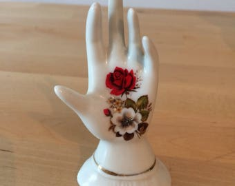 Vintage ceramic rose flowers hand figurine collectible statue