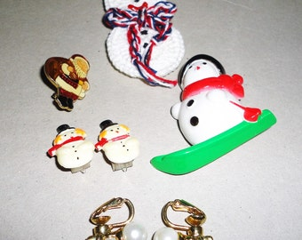 Vintage Lot of Holiday Snowmen Clip On Earrings Brooches Lapel Pin Lot of 5