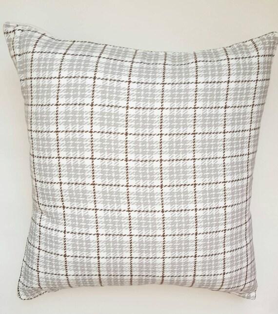 Throw Pillow Covers Farmhouse : Plaid Decorative Pillow Cover Ivory Grey Plaid Farmhouse