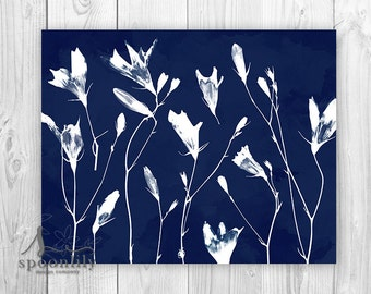 Cyanotype Botanical Flowers Art Print, Cyanotype Nature Decor, Cyanotype Wildflower Poster, Cyanotype Home Decor, Navy Blue Botanical Print