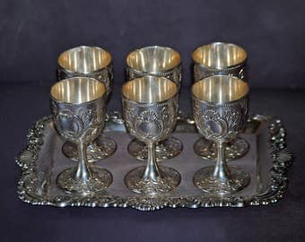 Vintage Silverplated Cordial Set - 6 Goblets and Tray