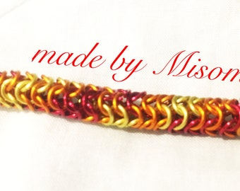 Chainmail bracelet, red orange and yellow roundmaille chain mail bracelets, bright handmade chainmaille chain link ewelry made by misome