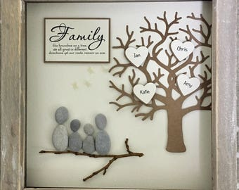 Pebble Art Family Tree Picture; ideal & unique gift for Mothers Day, family or friend, home decor.  unique gifts made to order