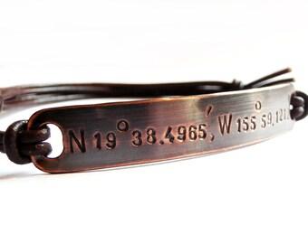Copper Bracelet Personalized Coordinates, Leather Bangle, Custom Stamped Latitude Longitude, Message, Men, Women, Wedding, Anniversary Gift