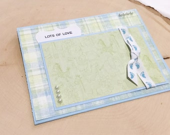 Baby Boy Card, Lots of Love, New Baby Card, Congratulations Baby Card, Handmade Baby Shower Card