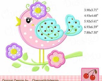 Bird Spring flowers bird Machine Embroidery Applique Design-for 4x4 5x7 6x10 hoop