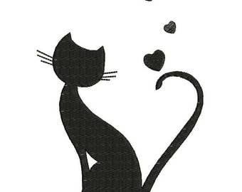 Cat with Hearts Machine Embroidery Designs - Applique Embroidery Design 28