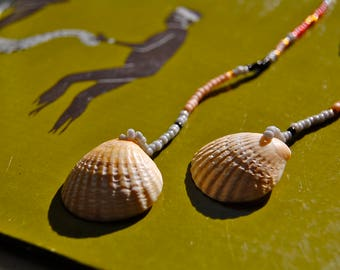The Colleen- Sea Shell and Seed Bead Long Single Strand Earrings