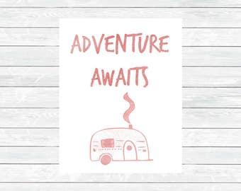 Adventure Awaits Print - Adventure Awaits Decor - Kids Room Print - Camper Wall art - Nursery printable wall art - Nursery Decor - Digital