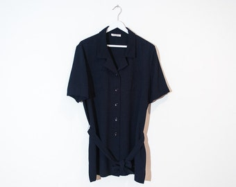 on sale - navy blue short sleeve tunic / long collared button-up top / size L / XL
