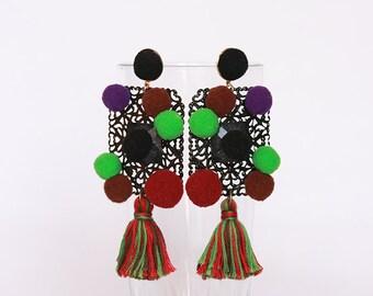 Pom pom Earrings, Tassel Earrings, Dangle Earrings, Gipsy Earrings, Hippie Earrings, Boho Earrings, Trendy jewelry, Gift for women