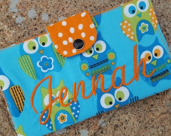 Personalized Owl Checkbook Cover, Coupon Wallet