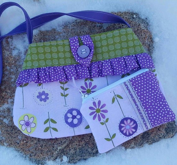 Purple Toddler Purse, Floral Little Girl's  Purse with Matching Coin Purse