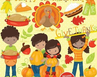 80% OFF SALE Thanksgiving clipart commercial use, fall season, turkey, harvest vector graphics, digital clip art, digital images - CL744