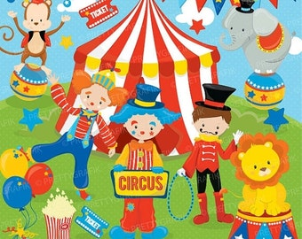 80% OFF SALE Circus clipart commercial use, Fun clowns vector graphics, digital clip art, digital images - CL683