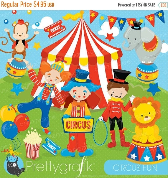 80% OFF SALE Circus clipart commercial use Fun clowns vector