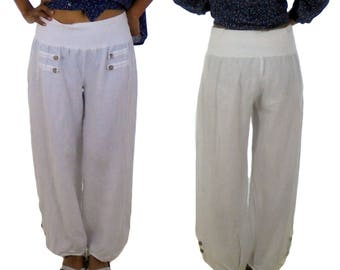 HF400W40 ladies pants size M pants layered look linen antique optics Gr. 40 white