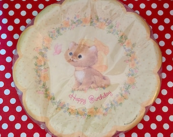 Kitten Birthday Party Plates Cat Theme Birthday, Kitty Cat, Mixed Media Art