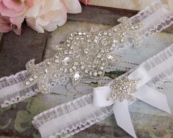 White Wedding Garter, White Organza Garter Set, Wedding Garter Set, Bridal garter Set, Rhinestone Garter, White Garter