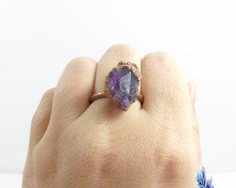 Raw big amethyst ring large natural crystal ring Copper gemstone ring, rough stone, electroformed, purple, lavender, mens ring, size US 9