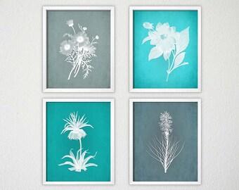 Teal Bedroom Art, Aqua and Gray Wall Art, Teal Botanical Prints, Teal Living Room Art, Blue Artwork, Teal Wall Art, Teal Gray Wall Art